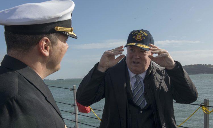 Ambassador Glass aboard USS Ross