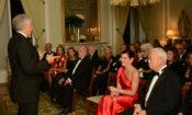 Ambassador Sherman addresses a group of guests