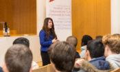 DCM Herro Mustafa talks with students at Aveiro University
