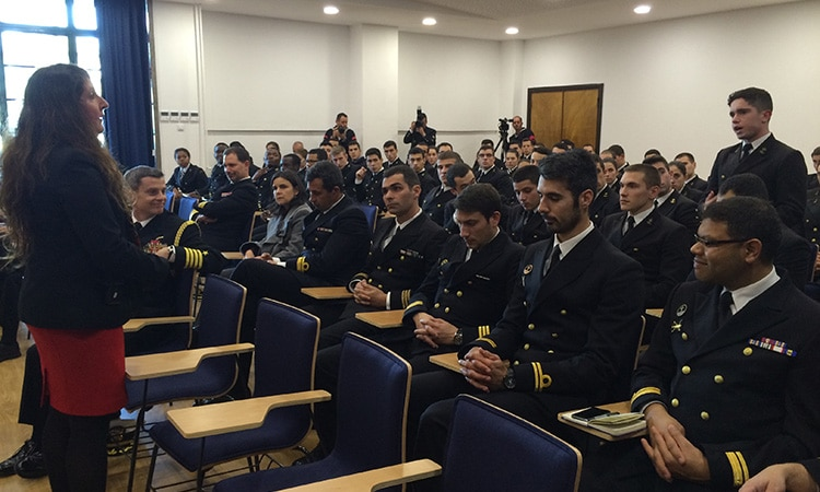 Chargé Mustafa talks to naval academy cadets (Photo: US Embassy Lisbon)