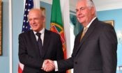 Secretary of State Rex Tillerson camera spray with Portuguese Foreign Minister Augusto Santos Silva